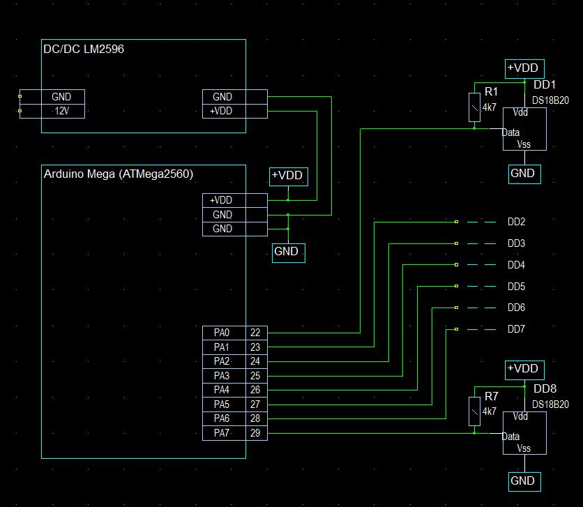 Подключение  термометров DS18b20 к Ардуино Mega