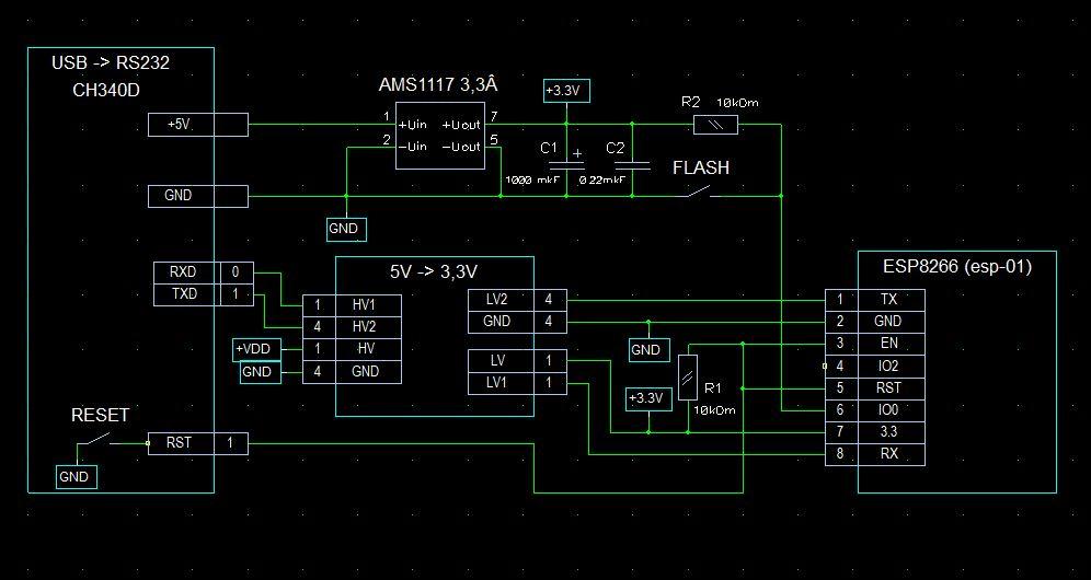 Программирование WiFi модуля ESP8266 (esp-01)