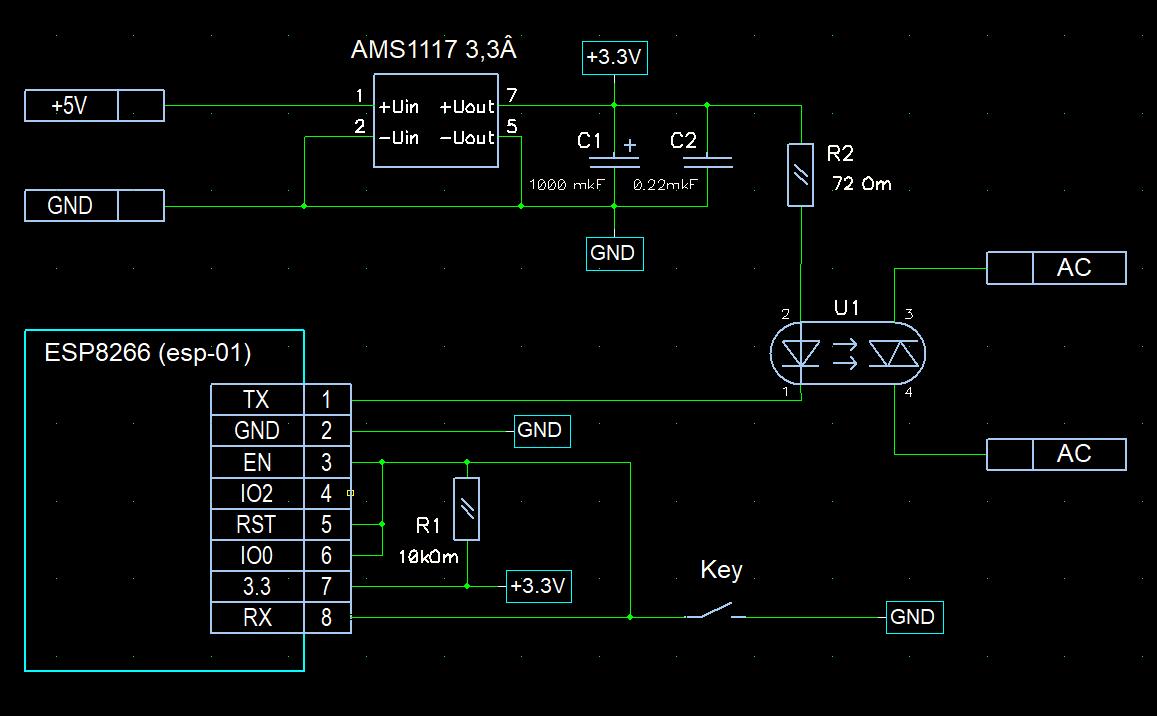 Схема подключения входов и выходов модуля ESP