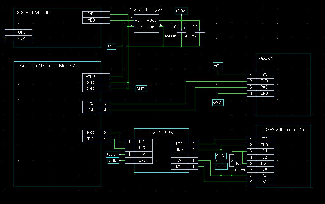 Схема подключения панели Nextion к Ардуино